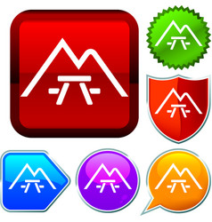 Set shiny icon series on buttons camping vector