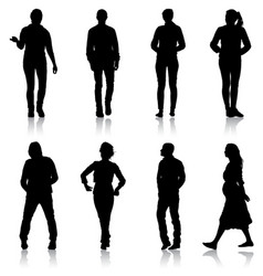 set silhouette of people walking on white vector image
