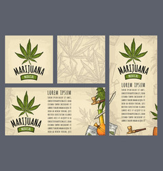 set template posters marijuanavintage color vector image