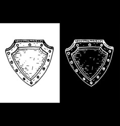 shield black and white hand drawn sketch vector image