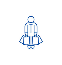 shopper man with bags line icon concept shopper vector image