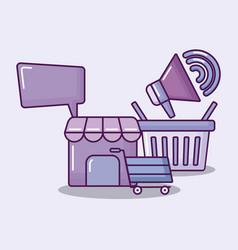 shopping basket with set icons economy vector image