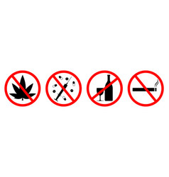 Sign forbidden for alcohol smoke and drug vector