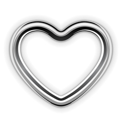 Silver metal heart shape vector