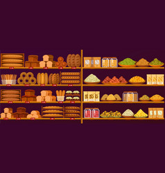 Stand at shop or store with bread and cereals vector