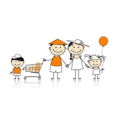Summer holidays Happy family with shopping basket vector