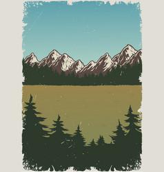 summer nature landscape vintage poster vector image