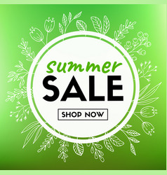 summer sale banner with floral wreath vector image