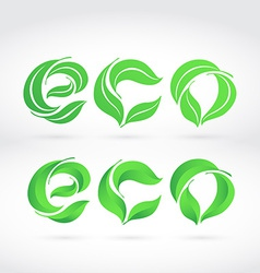 The word ECO composed from the leaves Two writing vector