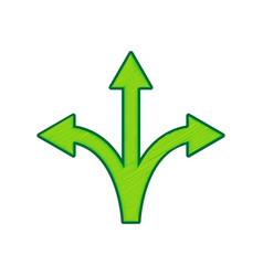 Three-way direction arrow sign lemon vector