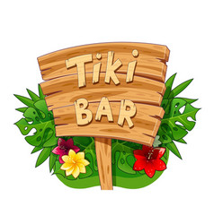 Tiki bar wooden banner vector
