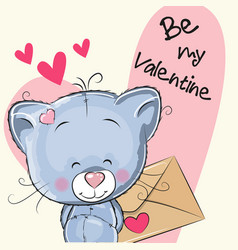 Valentine card with cute cartoon kitten vector