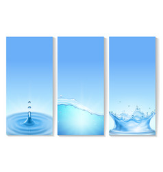 vetical transparent water wave banners vector image