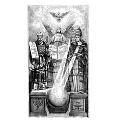 vintage metaphorical drawing biblical moses vector image