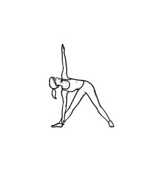 Woman in yoga triangle pose hand drawn outline vector
