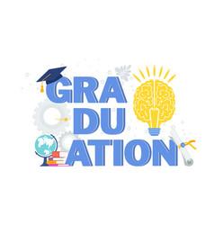 Word graduation typography concept vector
