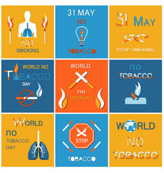 world no tobacco day banners refuse from nicotine vector image