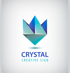 abstract 3d crystal geometric logo vector image vector image