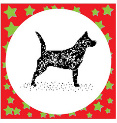black 8-bit dog standing isolated vector image vector image