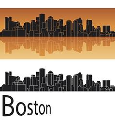 Boston skyline in orange background vector image vector image