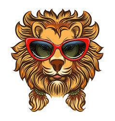 glam lion with red sunglasses vector image vector image