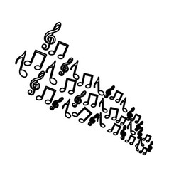 silhouette set musical notes icons vector image