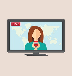 Television anchorwoman at studio during live vector