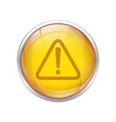 yellow warning button vector image vector image