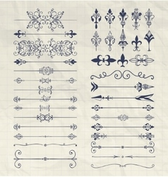 Hand Drawn Dividers Arrows Swirls on Notebook vector image