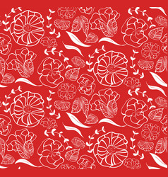 seamless pattern with red roses orange flowers vector image