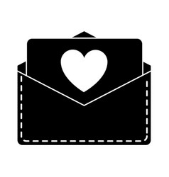 silhouette love heart envelope mail valentin vector image vector image
