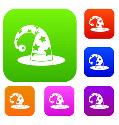wizards hat set collection vector image