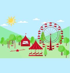 amusement park flat style a ferris wheel vector image vector image