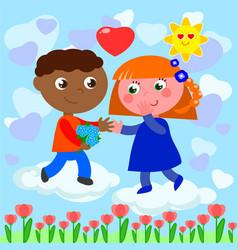 Interracial romantic young love vector