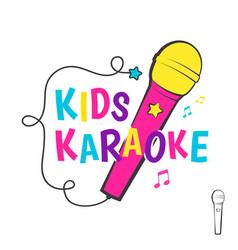 kids karaoke emblem vector image vector image