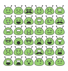 Set of space aliens icons with different emotions vector image vector image