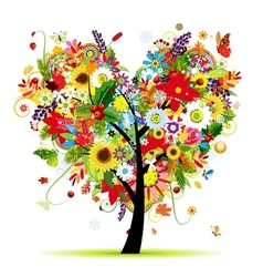 Four seasons Art tree heart shape for your design vector image vector image