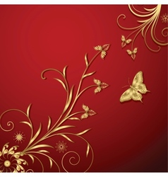 Gold Floral Abstraction vector image vector image