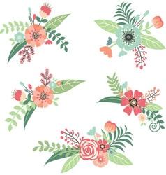 Wedding Flower Bouquet Set vector image vector image