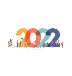 2022 new year with new normal lifestyle ideas vector