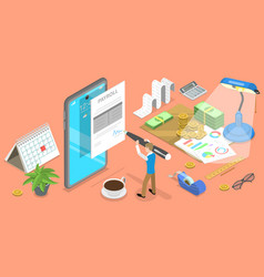 3d isometric flat concept mobile payroll vector
