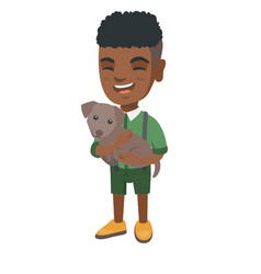 african-american happy boy holding a dog vector image