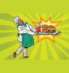 african chef brings a tray of fast food vector image
