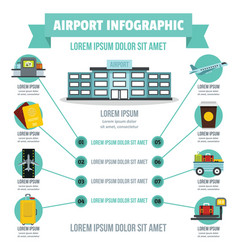 airport infographic concept flat style vector image
