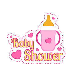 baby shower label with a baby bottle vector image
