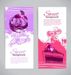 Banner set of vintage hand drawn sweet background vector
