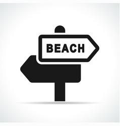 beach sign black icon vector image