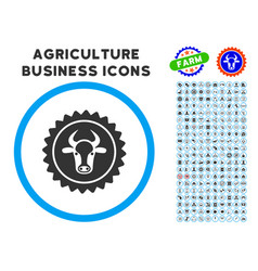 Beef certificate seal rounded icon with set vector