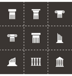 Black column icon set vector