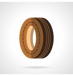 Brown wheel flat color design icon vector
